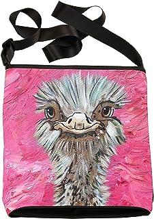 大号素食主义者斜挎包 - 可穿戴艺术,来自我的原始绘画 - 支持野生动物养护,阅读方法 Ostrich - Santosha large