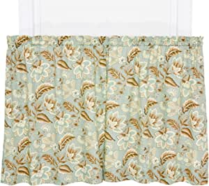 Ellis Curtain Valerie Jacobean Floral Print Tailored Tier Pair Curtains, 68 by 24-Inch, Spa