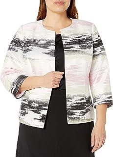 Kasper 女式长袖提花开襟羊毛衫