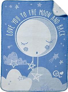 Clair de Lune 羊毛婴儿毯,蓝色,月亮图案