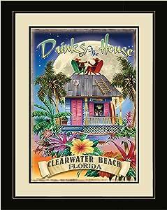 Northwest Art Mall JM-6766 LFGDM DOH 海滩佛罗里达州饮料带框墙艺术作家 Jim Mazzotta 50.8 cm x 66.04 cm