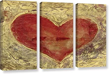 ArtWall Elana Ray's Red Heart of Gold 3 件套画廊包装油画套装 36x54 0ray086c3654w