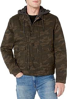 Lucky Brand 男式 Stark 纽扣前襟夹克,带外露羊毛帽