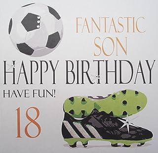 """白色棉卡片代码 NA18S 足球奇妙的Son Happy Birthday Have Fun 18"""" 手工制作的 18 岁生日卡"""