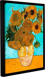 Vincent Vangogh's Vases With Twelve Sunflowers, Gallery-Wrapped Floater-Framed Canvas 14X18