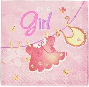 Pink Clothesline Girl Baby Shower Cocktail Napkins, 16ct