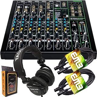 Mackie ProFX10v3 10 通道混音器内置效果器和 USB + Pro 耳机带一对 EMB XLR 电缆和重力磁铁手机支架套装,TH02 (2)+M
