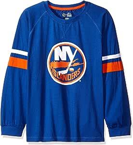 Profile Big & Tall NHL 纽约岛人队长袖 T 恤,带双臂条纹,3X,皇家蓝