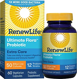 Renew Life A成人益生元——終極植物群額外護理益生元補充劑——貨架穩定,無麩質,乳制品和大豆——500億CFU——60粒素食膠囊