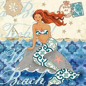 Jennifer Brinley 创作的组合帆布装饰美人鱼金发艺术品 20x20 NCE4504