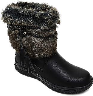 Minnetonka 女士 Everett 人造毛皮一脚蹬靴