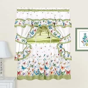 "Sweet Home 系列 5 件套厨房窗帘窗板印花设计摇摆和帷幔 灰色 24"" ACH-BUCS24GR"