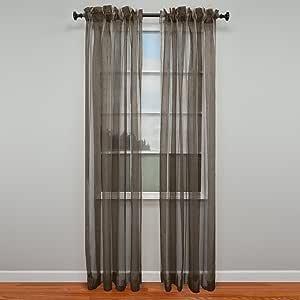 Vue Chenille Stripe Sheer Curtain Panel, 52 by 95-Inch, Espresso