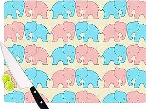 "KESS InHouse NL Designs""游行之上的淡色大象""粉笔动物切割板,29.21 cm x 40.01 cm,多色"