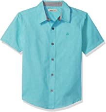 Calvin Klein 大男孩 Twist 纯色短袖衬衫