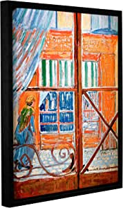 ArtWall Gallery Wrapped Floater Framed Canvas, Vincent Vangogh's Pork-Butchers Shop Through The Window, 24 by 32-Inch