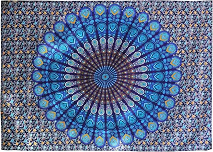 SING F LTD 印度曼陀罗挂毯壁宿舍装饰挂毛巾毯波西米亚床单床罩桌布 2x1.5m 黑色和白色/蓝色/多色 蓝色