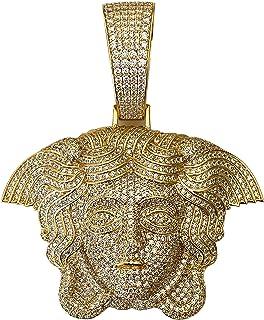 Shop-iGold 男士 14k 金饰面*Medusa 头大冰爪套装适用于古巴链男士,迈阿密适合古巴链链项链(仅限美杜莎吊坠)适合*大 18 毫米的链条