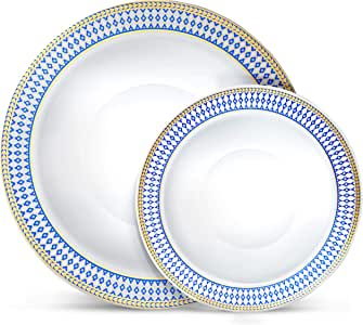 Laura Stein 派对碗 32 件套优雅一次性餐具组合套装包括 42.56 毫升甜点碗 + 440.2 毫升汤碗 适合生日、婚礼、活动假日、特殊场合, 蓝色和金色 64 Piece Set (32 Sets) MB-BC512-BG