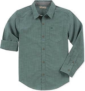 Calvin Klein 男孩纯色大号纽扣长袖衬衫