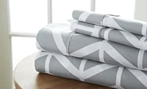 Becky cameron 超柔印花箭头图案4件套床单套装加州大号双人床灰色