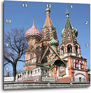 3dRose dpp_164784_3 St. Basil Cathedral, Red Square, Moscow, Russia Photo by Rhonda Albom-Wall Clock, 15 by 15-Inch
