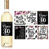 6 个 30 岁生日*瓶标签或贴纸,送给女士的 Dirty Thirsty Flirty Thirty Bday Gifts For Women's Cheers to 30 Years 字样,趣味粉红色黑金派对装饰用品,适合妻子、女妈朋友