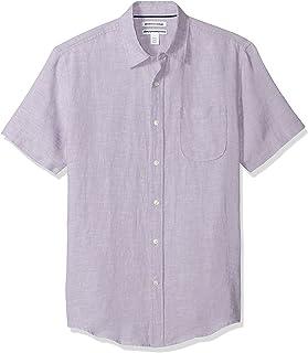 亚马逊必备男式修身短袖亚麻衬衫