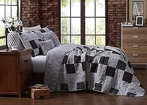 Avondale Manor Evangeline 4 件套双面印花拼接棉被带抱枕床上用品套装单人床深色 灰色 两个 EVA4QTTWINGHGY