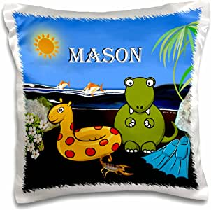 smudgeart MALE 儿童名字设计–梅森–霸王龙 AT THE Beach–枕套
