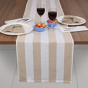 Ramanta Home Veronica 条纹设计 #2 混合颜色和尺码 Linen Vero#2 Table Runner(16x72) 39071