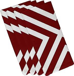 "E By Design ""X""标记斑点条纹印花餐巾 鲜红色 19""x 19"" N4SN201RE1"