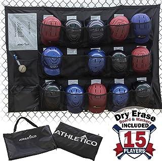 Athletico 15 Player Dugout 收纳包 - 悬挂式棒球头盔包用于整理棒球设备,包括手套、头盔、击球手套、球等等