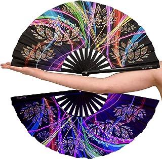 大竹子折叠狂欢手扇 - 适合女士/男士节日狂欢礼物时尚配饰 33.02 厘米 x 63.5 厘米双面黑色织物手持扇子送礼荷花黑色/彩虹夜光设计