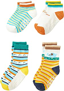 Filloie 婴儿 4双组袜子多彩动物 男孩 女孩 上幼儿园 上学 带防滑功能 带有文字记入空间