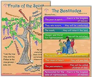 新设计 - The Beatitudes, Fruits of The Spirit,一套 2 张 30.48 厘米 x 45.72 厘米教室海报,配 5 张卡片袋