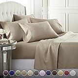 Danjor Linens 6 件套*店奢华柔软 1800 系列高级床单套装,深口袋,防*,防皱防褪色床上用品套装 灰褐色 Queen