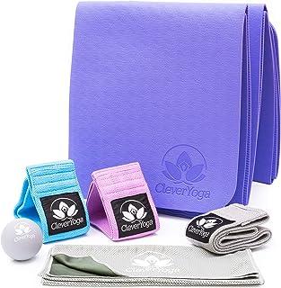 阻力带锻炼套装 - 5 件套,包括 3 条健身带、折叠垫、按摩球、凉爽毛巾和包 - 全套女性家庭锻炼健身设备