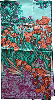 Van Gogh and Claude Monets 绘画,时尚丝巾高级披肩包裹艺术(梵高-星空夜)