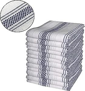 "CottonLin 12pk 篮子和华夫格条纹厨房毛巾 45.72cm x 71.12cm - D13 *蓝白色 18""x28"" 30126"