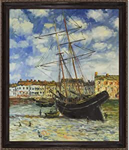 overstockArt Monet Boat at Low Tide, FeCamp 1881 Oil Painting with La Scala Frame, Black and Gold Finish