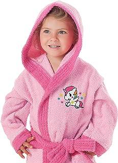 SECANETA 儿童连帽浴袍,100% 棉,独角兽/6 至 8 岁,多色