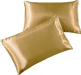 缎面床单 - 1800 袋深床单套装 - 酒店奢华丝滑超细纤维床单 - 深袋床笠,床单,枕套 金色 2 King Pillowcases ST-PK-GOLD