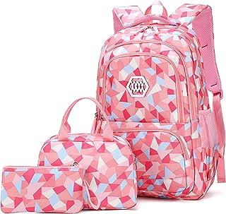 VIDOSCLA 3 件套几何印花小学生挎包背包小学生书包儿童书包 粉红色 L
