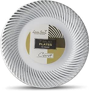 Laura Stein 设计师餐具曲线系列热印章塑料一次性盘子 7'' INCH PLATES CRV-P7S