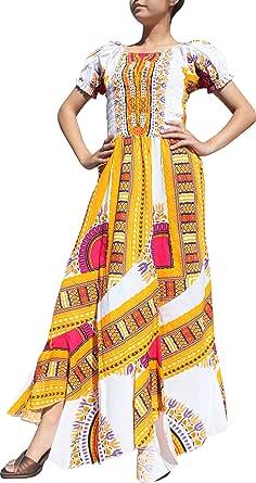 Raan Pah Muang RaanPahMuang Africa Dashiki 白色婴儿玩偶 Full Wild Smock 腰部女式连衣裙
