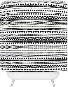 "Deny Designs 浴帘 Allyson Johnson 浴帘 Black/White Aztec Pattern 69"" x 90"" 17932-shocul"