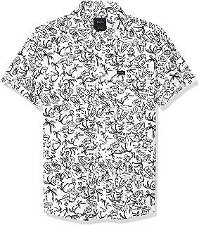RVCA 男孩大素描棕榈树短袖梭织纽扣衬衫