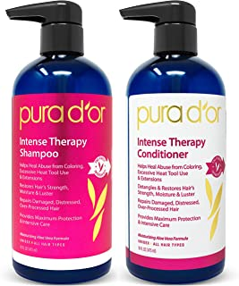 Pura D'or 洗发水和护发素护理套装,修复受损,过度处理的毛发,含天然成分,无硫酸盐,适合所有发质,男女通用(包装可能有所不同)