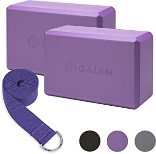 Gaiam Essentials 瑜伽砖 2 件装和瑜伽带套装